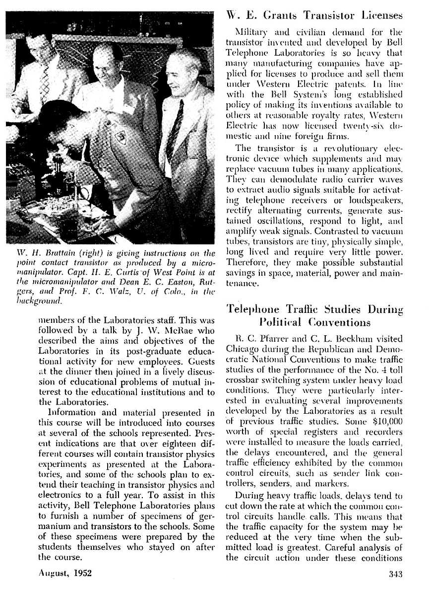 Germanium Alloy Transistors Bell Labs Integrated Circuit Work 2 Examples Of Photos And Description A Course Held At In June 1952 According To The Article Total 63 Students University Professors Representing